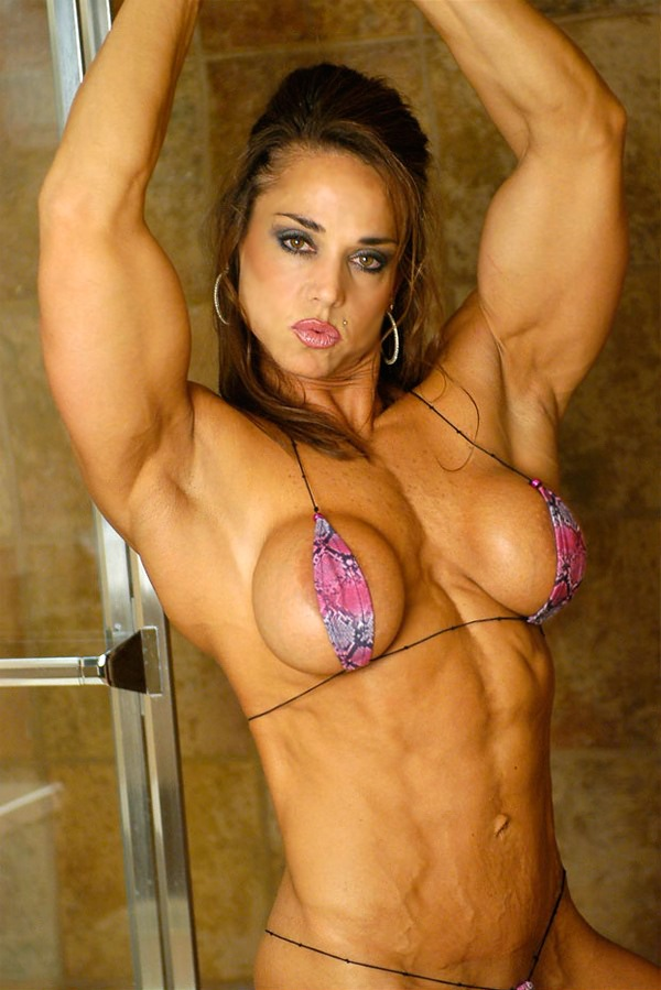 Body sexy perfect bodybuilder female off shows touching