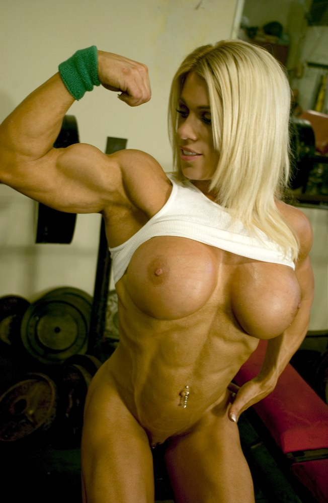 Gorgeous Muscular Blonde Babe With Big Boobs  Muscle Girls-7215