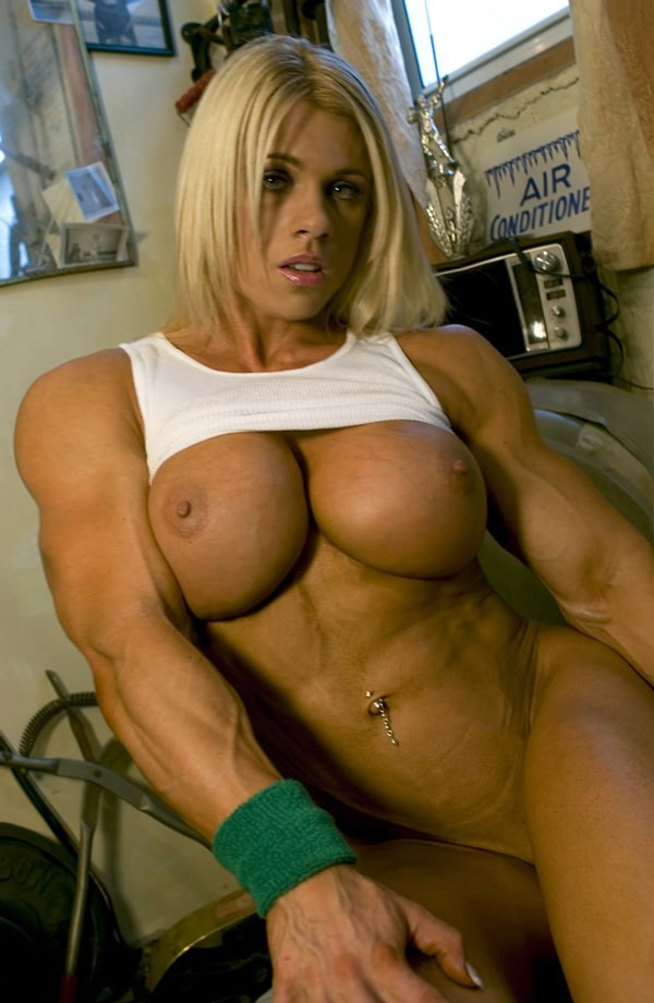 Incredible sexy busty blonde with huge ripped muscles ...