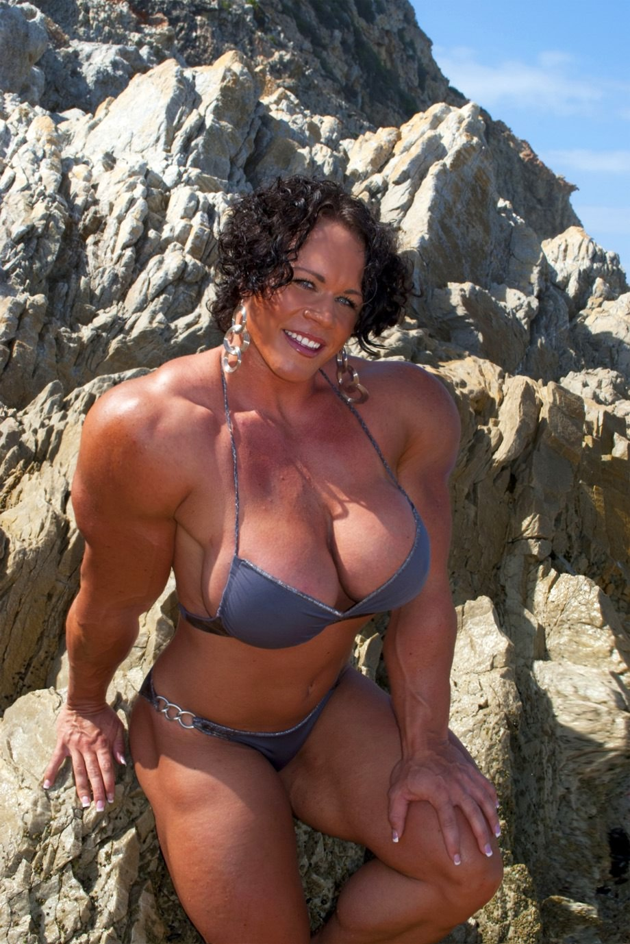 Truly Massive Female Muscle Beast Beach Posing