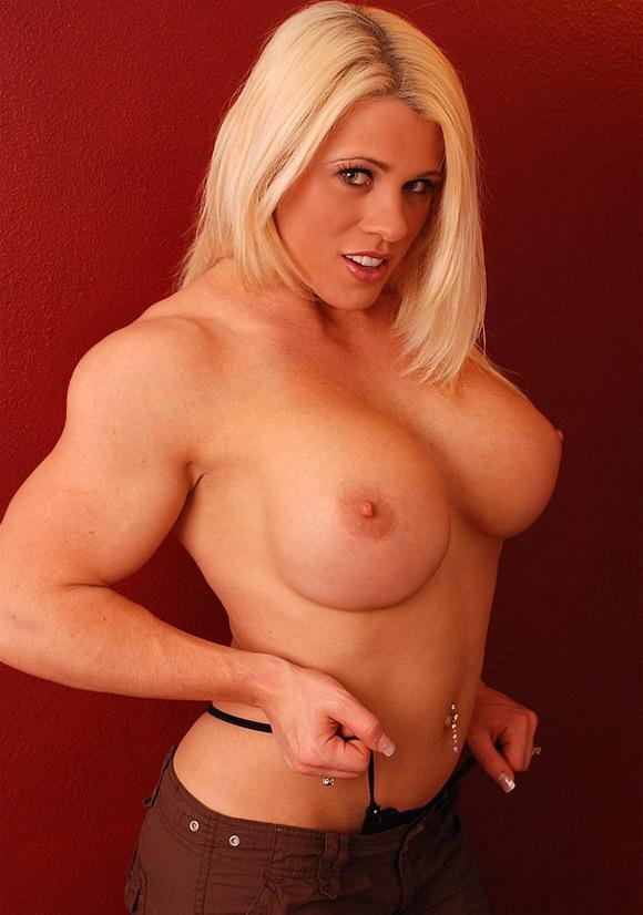 Blonde Female Bodybuilder Killer Sex Appeal  Muscle Girls-3826