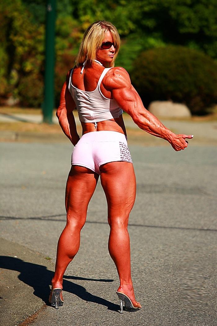 Massive Ripped Muscular Woman Posing Outdoors  Muscle Girls-7095