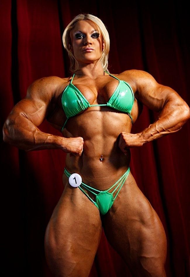 Blonde female bodybuilder