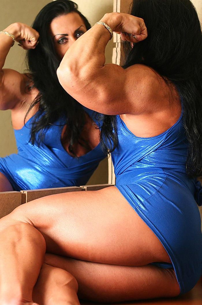 Muscular Brunette Mistress Flexing Her Big Hard Biceps -1787
