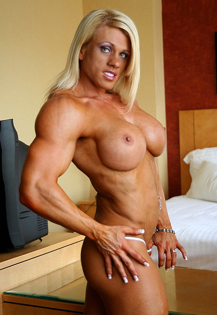 Blonde female bodybuilder melissa