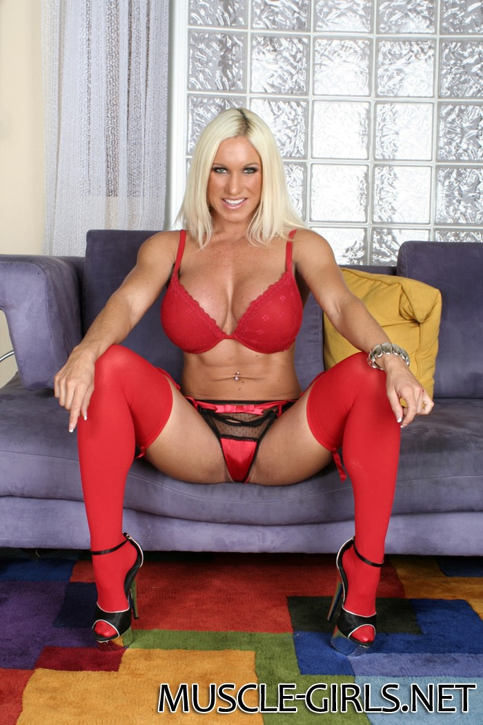 image Naked female bodybuilder cougar claire in schoolgirl panties